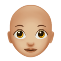 Woman: Medium-Light Skin Tone, Bald on Apple iOS 13.3