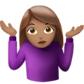 Woman Shrugging: Medium Skin Tone on Apple iOS 13.3