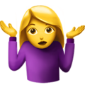 Woman Shrugging on Apple iOS 13.3