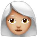 Woman: Medium-Light Skin Tone, White Hair on Apple iOS 13.3