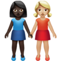 Women Holding Hands: Dark Skin Tone, Medium-Light Skin Tone on Apple iOS 13.3