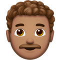Man: Medium Skin Tone, Curly Hair on Apple iOS 14.2