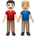 Men Holding Hands: Light Skin Tone, Medium-Light Skin Tone on Apple iOS 14.2