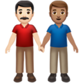 Men Holding Hands: Light Skin Tone, Medium Skin Tone on Apple iOS 14.2