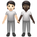 People Holding Hands: Light Skin Tone, Dark Skin Tone on Apple iOS 14.2