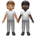 People Holding Hands: Medium Skin Tone, Dark Skin Tone on Apple iOS 14.2