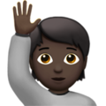 Person Raising Hand: Dark Skin Tone on Apple iOS 14.2
