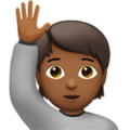 Person Raising Hand: Medium-Dark Skin Tone on Apple iOS 14.2