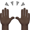 Raising Hands: Dark Skin Tone on Apple iOS 14.2