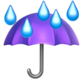 Umbrella with Rain Drops on Apple iOS 14.2