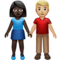 Woman and Man Holding Hands: Dark Skin Tone, Medium-Light Skin Tone on Apple iOS 14.2