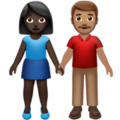 Woman and Man Holding Hands: Dark Skin Tone, Medium Skin Tone on Apple iOS 14.2