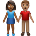 Woman and Man Holding Hands: Medium-Dark Skin Tone, Medium Skin Tone on Apple iOS 14.2