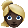 Woman: Dark Skin Tone, Blond Hair on Apple iOS 14.2
