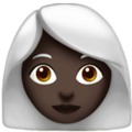 Woman: Dark Skin Tone, White Hair on Apple iOS 14.2