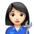 Woman Mechanic: Light Skin Tone on Apple iOS 14.2