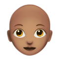 Woman: Medium Skin Tone, Bald on Apple iOS 14.2