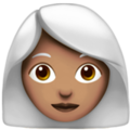 Woman: Medium Skin Tone, White Hair on Apple iOS 14.2