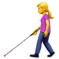 Woman with White Cane on Apple iOS 14.2