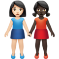 Women Holding Hands: Light Skin Tone, Dark Skin Tone on Apple iOS 14.2