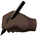 Writing Hand: Dark Skin Tone on Apple iOS 14.2