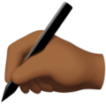 Writing Hand: Medium-Dark Skin Tone on Apple iOS 14.2