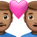 Couple with Heart: Man, Man, Medium Skin Tone on Apple iOS 14.5