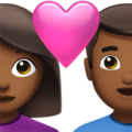 Couple with Heart: Woman, Man, Medium-Dark Skin Tone on Apple iOS 14.5
