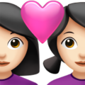 Couple with Heart: Woman, Woman, Light Skin Tone on Apple iOS 14.5
