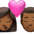 Kiss: Woman, Man, Medium-Dark Skin Tone on Apple iOS 14.5