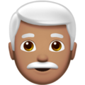 Man: Medium Skin Tone, White Hair on Apple iOS 14.5