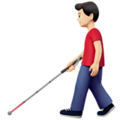 Man with White Cane: Light Skin Tone on Apple iOS 14.5