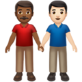 Men Holding Hands: Medium-Dark Skin Tone, Light Skin Tone on Apple iOS 14.5