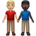 Men Holding Hands: Medium-Light Skin Tone, Dark Skin Tone on Apple iOS 14.5