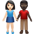 Woman and Man Holding Hands: Light Skin Tone, Dark Skin Tone on Apple iOS 14.5