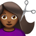 Woman Getting Haircut: Medium-Dark Skin Tone on Apple iOS 14.5