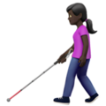 Woman with White Cane: Dark Skin Tone on Apple iOS 14.5