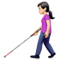 Woman with White Cane: Light Skin Tone on Apple iOS 14.5