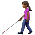 Woman with White Cane: Medium-Dark Skin Tone on Apple iOS 14.5