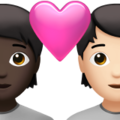 Couple with Heart: Person, Person, Dark Skin Tone, Light Skin Tone on Apple iOS 14.6