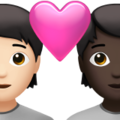 Couple with Heart: Person, Person, Light Skin Tone, Dark Skin Tone on Apple iOS 14.6