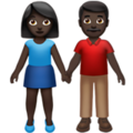 Woman and Man Holding Hands: Dark Skin Tone on Apple iOS 14.6