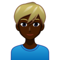 Blond-Haired Man: Dark Skin Tone on emojidex 1.0.34