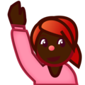 Person Raising Hand: Dark Skin Tone on emojidex 1.0.34
