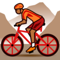 Person Mountain Biking: Medium-Dark Skin Tone on emojidex 1.0.34