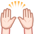 Raising Hands: Light Skin Tone on emojidex 1.0.34