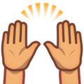 Raising Hands: Medium Skin Tone on emojidex 1.0.34