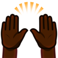 Raising Hands: Dark Skin Tone on emojidex 1.0.34