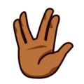 Vulcan Salute: Medium-Dark Skin Tone on emojidex 1.0.34