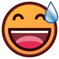 Grinning Face With Sweat on emojidex 1.0.34